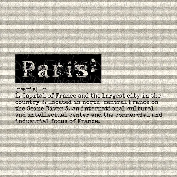Paris Definition Dictionary Art Typewriter Word Art Typography