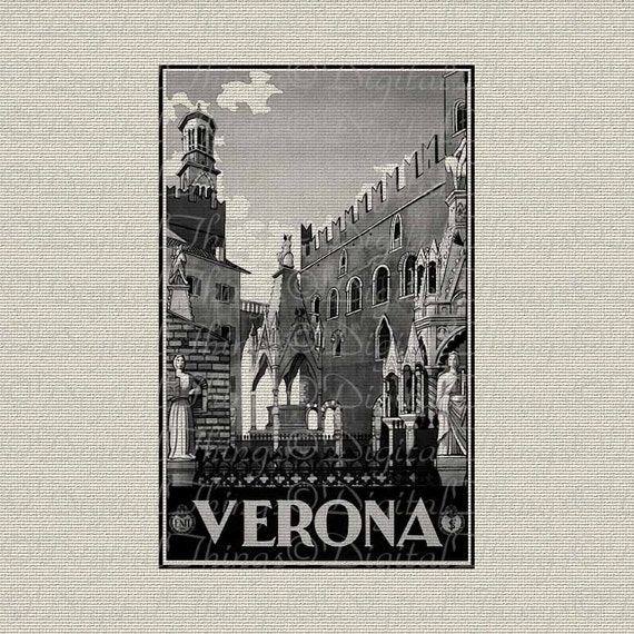 Italy Italian Travel Art Verona City Art Wall Decor Art Printable Digital Download for Iron on Transfer Fabric Pillows Tea Towels DT236