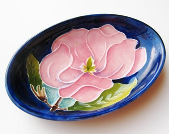 Vintage Moorcroft Ceramic Art Pottery Magnolia Pink Floral Small Pin Tray Oval Dish