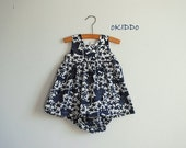 Baby Girl Summer Dress and Bloomers in Navy and White Flowers and Birds Print - Size 9-12m