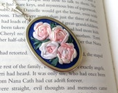 Embroidered Rose Pendant Pink and White - Silk Ribbon Embroidery by BeanTown Embroidery