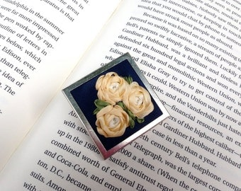 Handmade Cluster of Embroidered Silk Ribbon Roses Brooch on Upcycled Blue Silk Fabric
