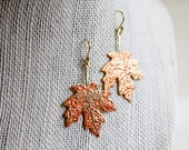 Autumn Leaves earrings - gold leaf earrings for women, glazed earrings, gold with red glazing