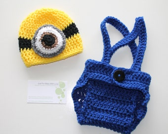 Crochet Baby Boy Girl Photo Prop Set Despicable Me Minion Hat Diaper Cover Overall Suspenders Made to Order