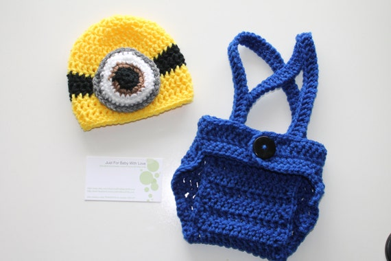 Crochet Newborn Baby Boy Girl Photo Prop Set Despicable Me Minion Hat Diaper Cover Overall Suspenders Made to Order