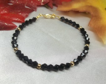 Black and Gold Bracelet Crystal Strand 14k Gold Filled Bracelet Black Bracelet Gold Bracelet Bridesmaid Jewelry BuyAny3+Get1 Free