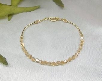 Girls Bracelet Toddler Bracelet Gold AB Swarovski Crystal Adjustable Bracelet 14k Gold Filled Stamped GF 1/20 BuyAny3+Get1Free