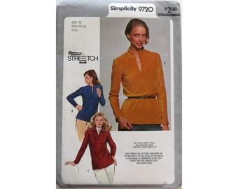 Pullover. Blouse Pattern, Size 10 12 14,  Simplicity 9720, UNCUT, Misses Top, Size 10 Blouse, Size 12 Top, Size 14 Tunic