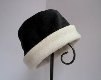 Black and Ivory Fleece Hat, Roll Brim Hat, Soft and Warm Hat, Black and White Hat, Fleece Hat, Black Hat