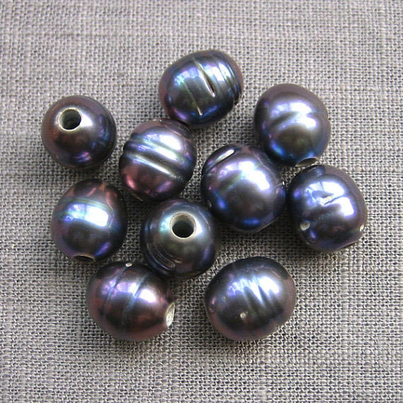 Large Hole Pearl Thread Malachite Purple Rice Pearl Necklace Freshwater Pearls 9.5-10.5mm 10 Pieces 2.2mm Hole