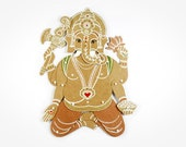 Ganesha the Hindu God, Remover of Obstacles - Articulated Art Paper Doll by Dubrovskaya. Handmade and hand painted.