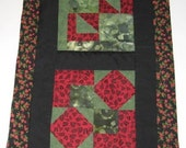 Table Topper, Runner, Wall Hanging in Red, Black and Greens