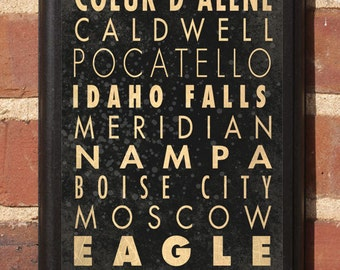Idaho ID Cities Wall Art Sign Plaque Gift Present Personalized Color Custom Home Decor Vintage Style Boise Nampa Meridian Falls Classic
