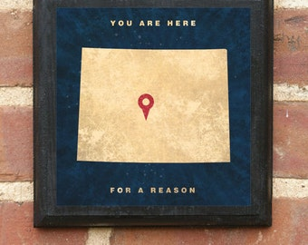 Colorado CO You Are Here For A Reason Wall Art Sign Plaque Gift Present Personalized Color Custom Location Home Decor Vintage Style Classic