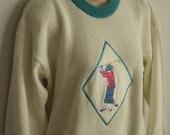 Vintage Sweater ladies golf applique preppy retro La Mode cotton knit L