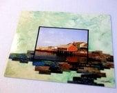 Postcard, Fiber Art print, quilted photo landscape, Atlantic Fishing