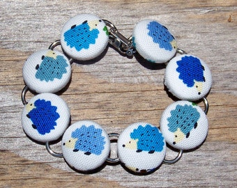 Blue Hedgehog Button Bracelet