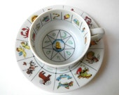 Vintage Fortune Teller's Teacup and Saucer with Zodiac Theme, 1978 Japan, International Collector's Guild