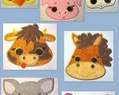 Farm Animal Faces Machine Applique Embroidery Design - 5x7 & 6x8