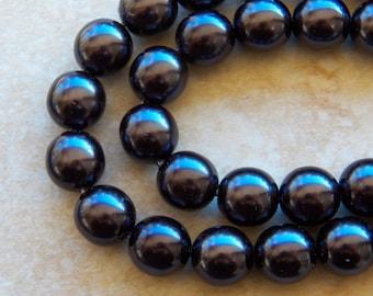 12mm Black PRECIOSA Traditional Czech Glass Pearl Beads, 8 PC (INDOC48)