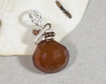 Wire Wrapped Pendant. Carnelian Wire Wrapped Briolette Pendant . Add Dangle