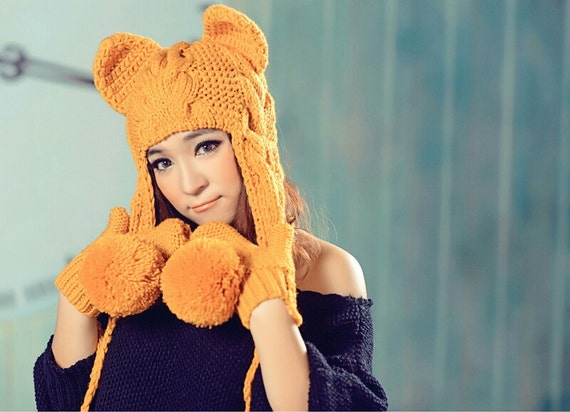 Hand Knit Hat The Ear Flap Hat pompom Chunky Knit Autumn Accessories Winter Accessories Fall Fashion