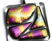 Pink and Yellow Square Dichroic Fused Glass Pendant