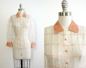 1940s vintage sheer blouse // copper pan collar // copper window pane pattern // fitted waist // size XS