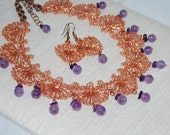 Crocheted Copper Wire Lace Necklace, Crochet Statement Necklace, Amethyst Copper Necklace, Crochet Wire Jewelry