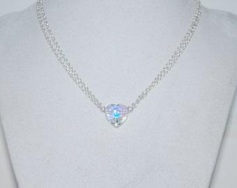 Crystal Heart Necklace, Simple Locket, Swarovski Crystal Heart Pendant Necklace, Clystal AB Heart Necklace