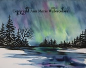 Aurora Borealis - northern lights landscape watercolor giclee or canvas print -  8 x 10 or larger