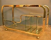 1970′s Brass & Glass Bar Cart or Media Stand