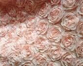 Bridal Lace Fabric,  Blush Pink Lace, Floral Lace, Chiffon 3D Lace, Apparel Fabric Lace One Yard