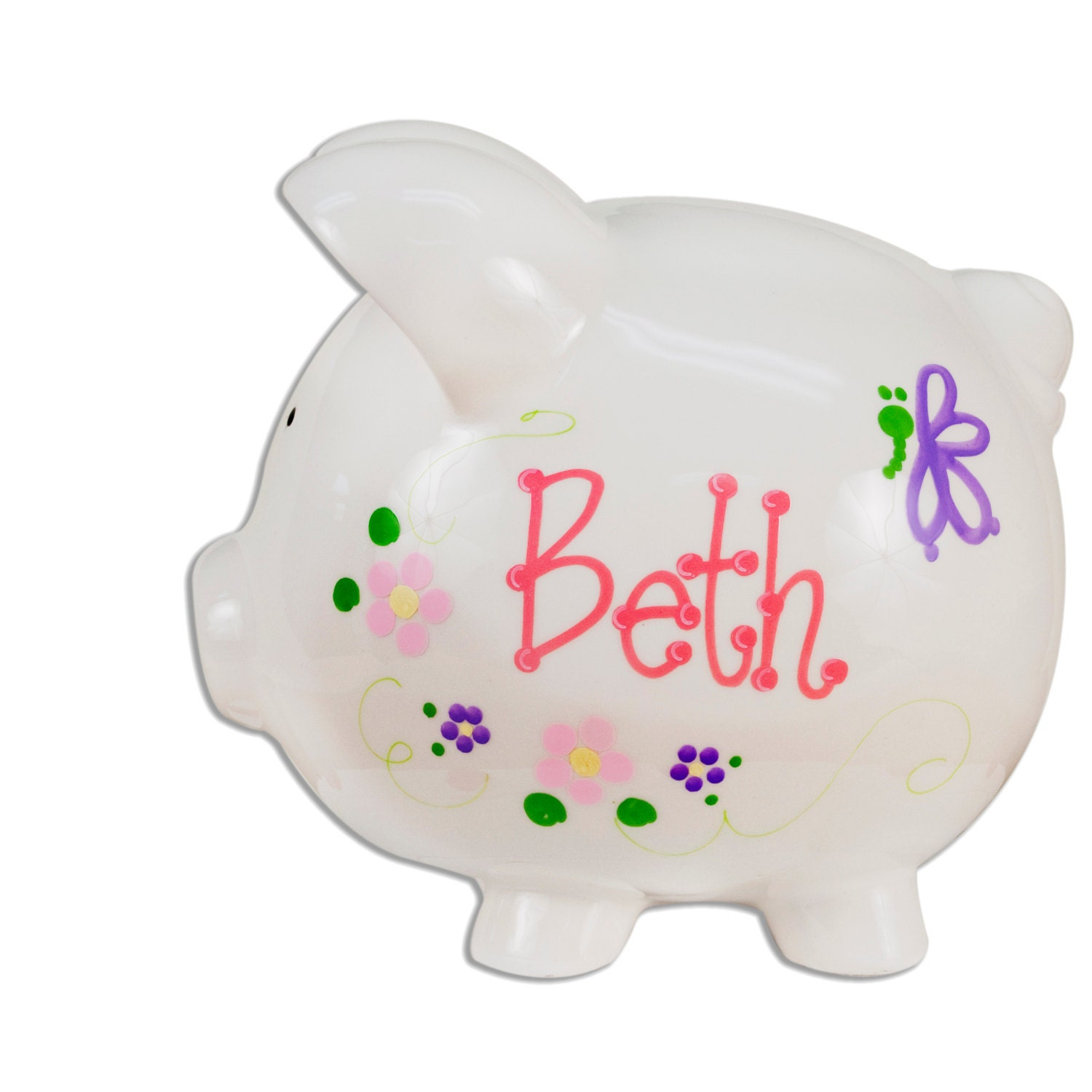 Personalized butterfly piggy bank for girls hand painted for How to make a piggy bank you can t open