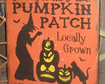 "Primitive Lg Holiday Wooden Hand Painted Halloween Salem Witch Sign -  "" The  Black Hat Pumpkin Patch ""  Country  Rustic Folkart"