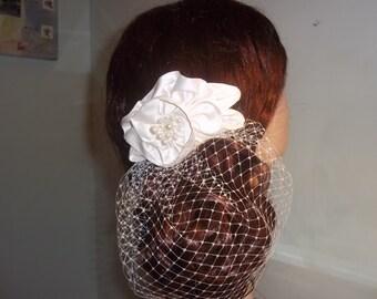 Bridal Birdcage, 1940s Style, Old Hollywood Bride - Vintage Snood Bridal Headpiece, Mini Birdcage - A Bijoux Bridal Chicago Signature Design