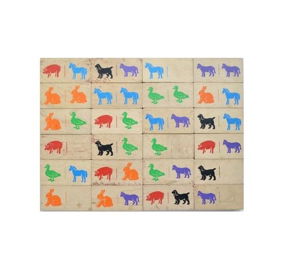 24 vintage childrens blocks farm animal BIG 3.75 inch dominoes wood offered by Elizabeth Rosen