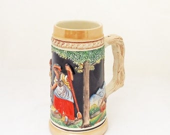 Vintage Mid Century Beer Stein Mug, German Ceramic Beer Stein, UK Seller