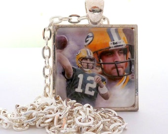 "Green Bay Packer Jewelry, Packer Necklace or Keychain, Aaron Rodgers Glass Tile Pendant Square, 24"" Chain, Packers Fan, Mothers Day"