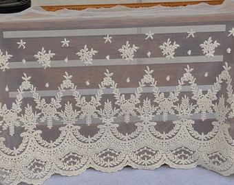 ivory Lace Trim, Embroidered tulle lace trim, mesh lace trim