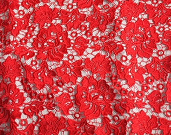 red lace fbric,  venise lace fabric, crocheted lace fabric, vintage lace fabric with retro floral pattern on sale