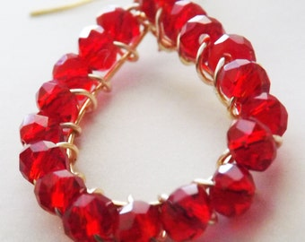 Red Chinese Crystal Earring
