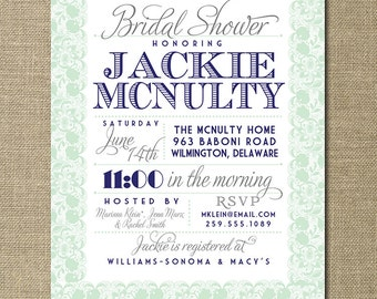 Lace Bridal Shower Invitation Navy Blue Pastel Mint Green Gray Rustic Wedding Invite FREE PRIORITY SHIPPING or DiY Printable - Jackie