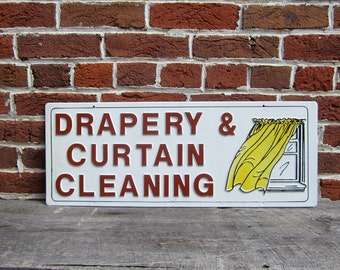 Vintage Sign Drapery and Curtains Cleaned Sign Old Plastic Sign 1980s 80s Era vtg Store Sign Retro Throwback Raised Letters 3D Brown  White