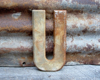 Vintage Metal Chippy Letter U Sign Painted White Rusty Marquee Metal Letter
