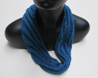 Scarf, circular infinity, blue, knitted accessory