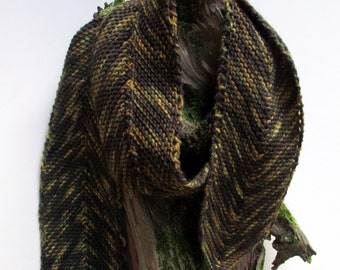 Scarf,women, long knitted, chevron pattern, merino wool, Autumn colors, luxury yarn