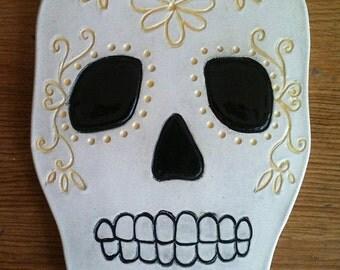 Día de los Muertos skull trivet, wall hanging