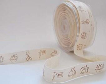 Cotton tape with sewing machine print, 1m (1.1yard), zakka ribbon
