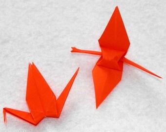 Origami Cranes - 100 Small Orange Origami Paper Cranes